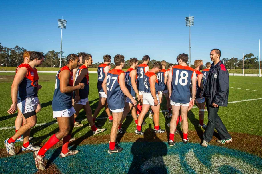The Manly Warringah Giants (8.20-68) defeat the Pennant Hills Demons (2.10-22) in the Grand Final of the AFL Sydney Mens Premier Division competition
